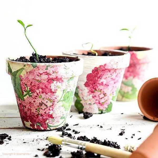 ایده های خلاقانه تزیین گلدان سفالی